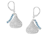 Sterling Silver with CZ Small Flat Back Shaped Hershey`s Kiss Lever Back Earrings