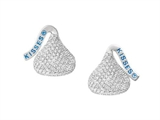 Sterling Silver Small with CZ Flat Back Shaped Hershey`s Kiss Stud Type Earrings