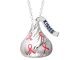 Sterling Silver Medium Flat Back Shaped Breast Cancer Awareness Hershey`s Kiss Pendant