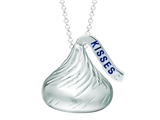 Sterling Silver Medium Flat Back Shaped Hershey`s Kiss Pendant w/ diamond accent style: AK0089PWD000SS