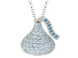 March Birthstone CZ`s Medium Flat Back Shaped Hershey`s Kiss Pendant- 16 to 18 Inch Adjustable Chain Included