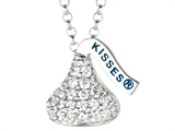 April Birthstone CZ`s Small Flat Back Shaped Hershey`s Kiss Pendant- Free 16 to 18 Inch Adjustable Chain Included