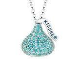 December Birthstone CZ`s Medium Flat Back Shaped Hershey`s Kiss Pendant- 16 to 18 Inch Adjustable Chain Included