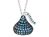 September Birthstone CZ`s Medium Flat Back Shaped Hershey`s Kiss Pendant- Free 16 to 18 Inch Adjustable Chain Included