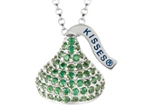 August Birthstone CZ`s Medium Flat Back Shaped Hershey`s Kiss Pendant- Free 16 to 18 Inch Adjustable Chain Included