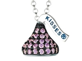 February Birthstone CZ`s Small Flat Back Shaped Hershey`s Kiss Pendant- 16 to 18 Inch Adjustable Chain Included