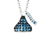 September Birthstone CZ`s Small Flat Back Shaped Hershey`s Kiss Pendant- 16 to 18 Inch Adjustable Chain Included