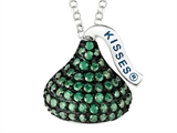 May Birthstone CZ`s Medium Flat Back Shaped Hershey`s Kiss Pendant- Free 16 to 18 Inch Adjustable Chain Included