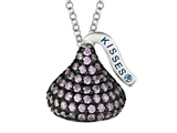 February Birthstone CZ`s Medium Flat Back Shaped Hershey`s Kiss Pendant- Free 16 to 18 Inch Adjustable Chain Included