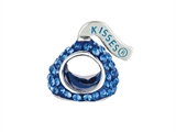 Hershey`s Kiss Blue CZ Small 3D Shaped Slide Bead/ Charm style: AK6705BCSS00SS