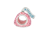 Hershey`s Kiss Pink CZ Small 3D Shaped Slide Bead/ Charm