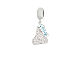 Hershey`s Kiss White CZ Small 3D Dangle Bead/ Charm