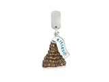 Hershey`s Kiss Brown CZ Small 3D Dangle Bead/ Charm