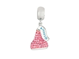 Hershey`s Kiss Pink CZ Small 3D Dangle Pandora Compatible Bead/ Charm style: AK6715BCRS00SS