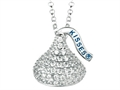April Birthstone CZ`s Medium Flat Back Shaped Hershey`s Kiss Pendant- Free 16 to 18 Inch Adjustable Chain Included
