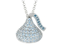 March Birthstone CZ`s Medium Flat Back Shaped Hershey`s Kiss Pendant- Chain Included