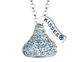 "March Birthstone CZ""s Small Flat Back Shaped Hershey`s Kiss Pendant- Chain Included"