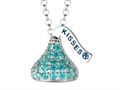 December Birthstone CZ`s Small Flat Back Shaped Hershey`s Kiss Pendant- 16 to 18 Inch Adjustable Chain Included