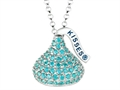 December Birthstone CZ`s Medium Flat Back Shaped Hershey`s Kiss Pendant- Chain Included
