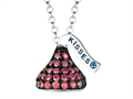 "July Birth Month CZ""s Small Flat Back Shaped Hershey`s Kiss Pendant- Chain Included"