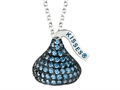 September Birthstone CZ`s Medium Flat Back Shaped Hershey`s Kiss Pendant- Chain Included