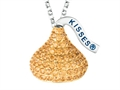 "November Birthstone CZ""s Medium Flat Back Shaped Hershey`s Kiss Pendant- Chain Included"