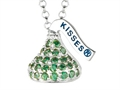 August Birthstone CZ`s Small Flat Back Shaped Hershey`s Kiss Pendant- 16 to 18 Inch Adjustable Chain Included