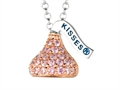 October Birthstone CZ`s Small Flat Back Shaped Hershey`s Kiss Pendant- 16 to 18 Inch Adjustable Chain Included