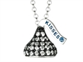 "June Birth Month CZ""s Small Flat Back Shaped Hershey`s Kiss Pendant- Chain Included"