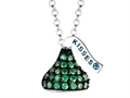 May Birthstone CZ`s Small Flat Back Shaped Hershey`s Kiss Pendant- Free 16 to 18 Inch Adjustable Chain Included