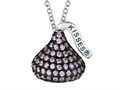 February Birthstone CZ`s Medium Flat Back Shaped Hershey`s Kiss Pendant- 16 to 18 Inch Adjustable Chain Included