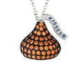 January Birthstone CZ`s Medium Flat Back Shaped Hershey`s Kiss Pendant- 16 to 18 Inch Adjustable Chain Included