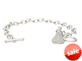 Sterling Silver with CZ Small Flat Back Shaped Hershey`s Kiss Bracelet with One Hershey`s Kiss