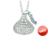 April Birthstone CZ`s Medium Flat Back Shaped Hershey`s Kiss Pendant- Chain Included style: AK0237PWCZ00SS