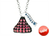 July Birthstone CZ`s Small Flat Back Shaped Hershey`s Kiss Pendant- 16 to 18 Inch Adjustable Chain Included