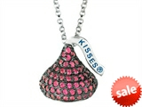July Birthstone CZ`s Medium Flat Back Shaped Hershey`s Kiss Pendant- 16 to 18 Inch Adjustable Chain Included