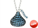September Birthstone CZ`s Medium Flat Back Shaped Hershey`s Kiss Pendant- 16 to 18 Inch Adjustable Chain Included