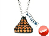 January Birthstone CZ`s Small Flat Back Shaped Hershey`s Kiss Pendant- 16 to 18 Inch Adjustable Chain Included