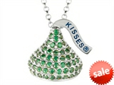 August Birthstone CZ`s Medium Flat Back Shaped Hershey`s Kiss Pendant- 16 to 18 Inch Adjustable Chain Included