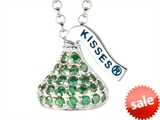 August Birthstone CZ`s Small Flat Back Shaped Hershey`s Kiss Pendant- Chain Included style: AK0291PGCZ00SS