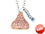 October Birthstone CZ`s Small Flat Back Shaped Hershey`s Kiss Pendant- Chain Included style: AK0300PPCZ00SR