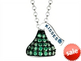 May Birthstone CZ`s Small Flat Back Shaped Hershey`s Kiss Pendant- Chain Included style: AK0329PGCZ00SS