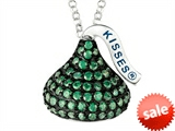 May Birthstone CZ`s Medium Flat Back Shaped Hershey`s Kiss Pendant- 16 to 18 Inch Adjustable Chain Included