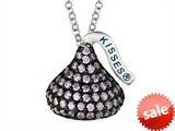 February Birthstone CZ`s Medium Flat Back Shaped Hershey`s Kiss Pendant- Chain Included style: AK0352PACZ00SS