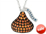 January Birthstone CZ`s Medium Flat Back Shaped Hershey`s Kiss Pendant- Chain Included style: AK0354POCZ00SS