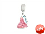 Hershey`s Kiss Pink CZ Small 3D Dangle Bead/ Charm style: AK6715BCRS00SS