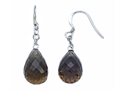 Briolette Smokey Quartz Hanging Hook Earrings