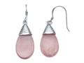 Rose Quartz Hanging Hook Earrings