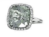 Anti Tarnish Sterling Silver 14mm Cushion Cut Mint Green Quartz and Round White Sapphire Ring style: 1004G