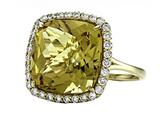 Anti Tarnish Sterling Silver 14mm Cushion Cut Honey Quartz and Round White Sapphire Ring